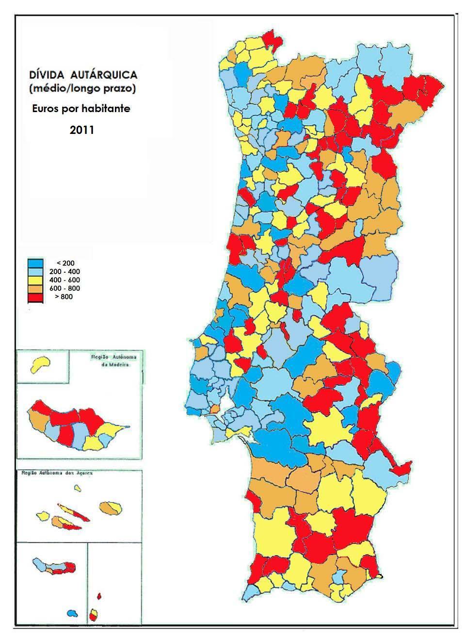 mapa dos municipios de portugal Mapas de Dívida Autárquica per capita (2011) | Limiano Liberal mapa dos municipios de portugal